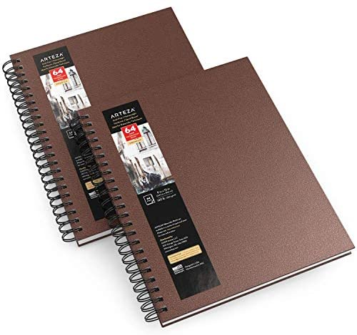 Arteza Watercolor Sketchbooks, 9x12-inch, 2-Pack, Brown Hardcover Journal, 64 Sheets, 140lb/300gsm Watercolor Paper Pad, Spiral Bound Book for Watercolors, Gouache, Acrylics, Pencils, Wet & Dry Media