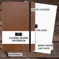 RICCO BELLO Art Sketchbook Hardcover Journal, with Writing Guide, Fountain Pen Friendly Thick 120 GSM Paper 5.7 x 8.4 inches, 176 Pages (Black) : Office Products