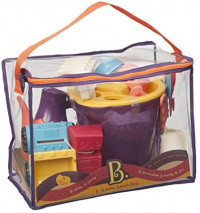 B. toys – B. Ready Beach Bag – Beach Tote with Mesh Panel and 11 Funky Sand Toys – Phthalates and BPA Free – 18 m+, Purple Bucket: Toys & Games