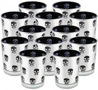 Just Artifacts Halloween Silver Glass Votive Candle Holders with Skull - (Set of 12, Silver Skulls)- Glass Votive Candle Holders for Halloween Parties and Home Décor: Home & Kitchen