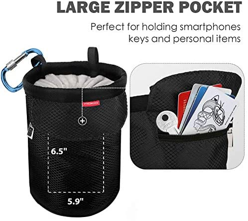 MoKo Chalk Bag, Drawstring Rock Climbing Chalk Bag Bouldering Chalk Bag Bucket with Adjustable Belt & Zippered Pockets and Carabiner for Rock Climbing Weight Lifting Gymnastics Crossfit - Black : Sports & Outdoors