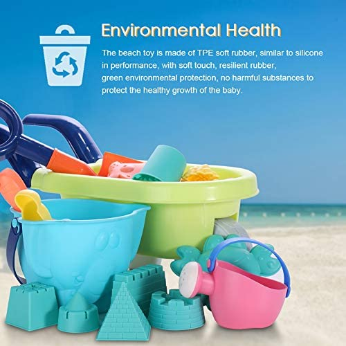 MINGPINHUIUS Beach Toys Kids Boys Beach Sand Toy Set with Barrow Elephant Bucket Two Big Shovels One rake and Mesh Bag Soft Plastic Material (20 pcs): Toys & Games
