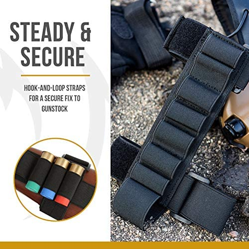 OneTigris 7 Round Tactical Shotgun Stock Shell Holder 1000D Nylon Ammo Carrier Hunting Pouch Strip (Black): Toys & Games