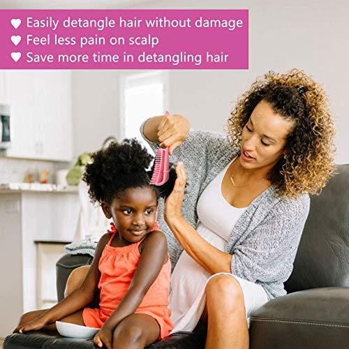6 Pieces Detangling Brush for Afro America/African Hair Textured 3a to 4c Kinky Wavy/Curly/Coily/Wet/Dry/Oil/Thick/Long Hair, Knots Detangler Easy to Clean (Blue black pink) : Beauty
