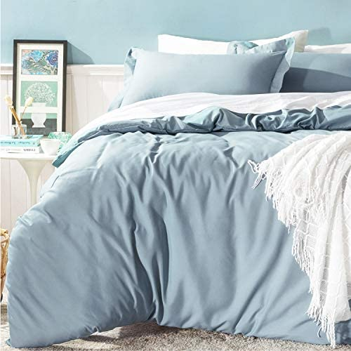 Bedsure Duvet Cover Queen Set Zipper Closure (90x90 Inch) Grayish Blue Ultra Soft Brushed Microfiber Bed Cover 3-Piece Bedding Comforter Cover with Corner Ties and 2 Pillow Shams Easy Care: Kitchen & Dining
