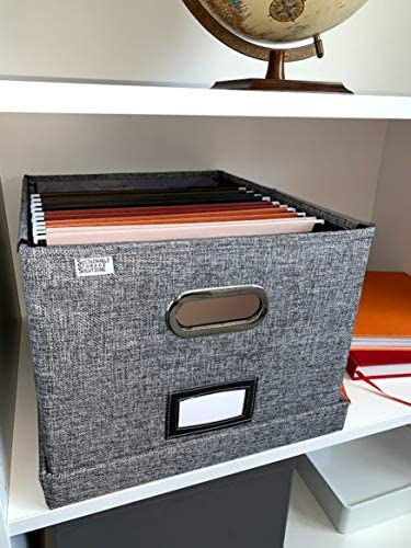 File Box Storage Organizer with file folders - Letter sized brackets for Office File Storage Box - Metal brackets for Easier Document Storage: Home Improvement