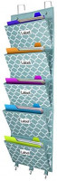 Over The Door File Organizer, Hanging Wall Mounted Storage Holder Pocket Chart for Magazine, Notebooks, Planners, Mails, 5 Extra Large Pockets(Blue withLantern Pattern) : Office Products