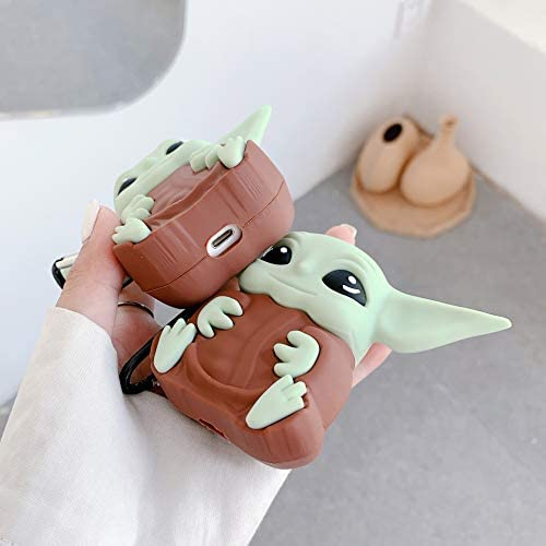 AirPod 2/1 Case, New 3D Cute Silicone Character Protective Shockproof Air Pods Cover for Girl Men Boys Teens, Funny Fun Soft Skin with Keychain for AirPods (Yoda): Home Audio & Theater