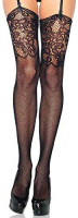 Leg Avenue Women's Rose Lace Thigh Highs, Black, One Size: Garter Belts And Stocking Sets: Clothing