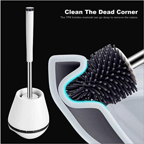 Toilet Brush and Holder Set with Aluminum Handle & Silicone Bristles, Toilet Brush Toilet Bowl Cleaner Brush and Holder for Bathroom Storage and Organization with Tweezers (White): Home & Kitchen