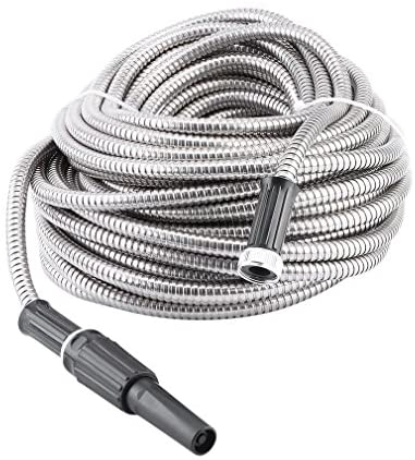 100ft Garden Hose Stainless Steel Metal Water Hose Pipe Super Long Flexible Lightweight No Twisting Durable No Kink Cool for Watering Yard Lawn Car Wash : Garden & Outdoor