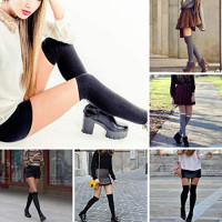 Zelta Women's Lace Top Over the Knee Socks Stocking Knee-High Hosiery Soft Cotton (Black): Clothing