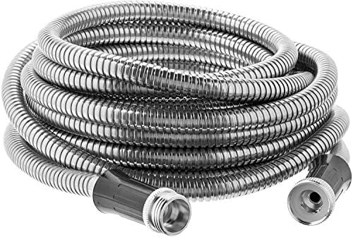Bionic Steel 100 Foot Garden Hose 30.4 Stainless Steel Metal Water Hose – Super Tough & Flexible, Lightweight, Crush Resistant Aluminum Fittings, Kink & Tangle Free, Rust Proof, Easy to Use & Store : Garden & Outdoor