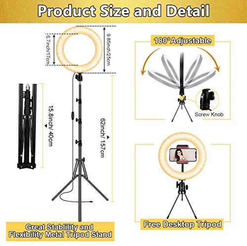 "Selfie Ring Light,10"" Led Ring Light with Tripod Stand and Phone Holder,Dimmable Beauty Ringlight for Live Stream,YouTube Video, Photography,TikTok,Makeup,Vlog,Compatible with iOS and Android Phones"