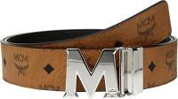 MCM Men's Silver M Buckle Reversible Belt, Cognac & Silver, One Size: Home & Kitchen