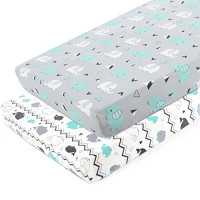Pack n Play Stretchy Fitted Pack n Play Playard Sheet Set-Brolex 2 Pack Portable Mini Crib Sheets,Convertible Playard Mattress Cover,Ultra Soft Material,Elephant & Whale: Baby