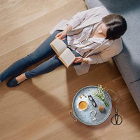Galvanized Round Metal Serving Tray for Home, Office, Party, Wedding, Spa, Serving - Jumbo Serving Tray & Display Perfect for Rustic, Vintage Decoration in Kitchen & Dining Room (Round): Kitchen & Dining
