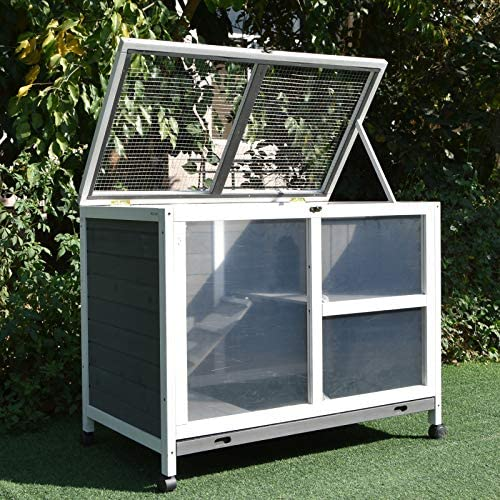 PawHut Solid Wood Rabbit Hutch/Home Pet House with a Main Room for Sleeping and a Cage Area for Playing, Indoor/Outdoor: Pet Supplies