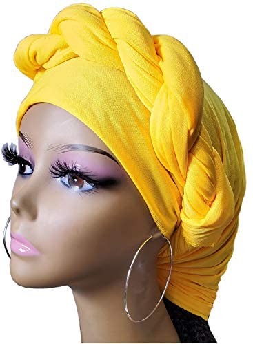 Stretch Head Wrap Scarf Head Wrap for women Turban Wrap Stretch Jersey Long Turban Head Wrap Tie 1 or 2 (19sd black 2601-1) at Women's Clothing store