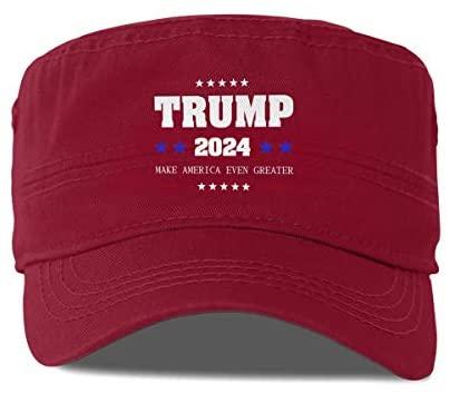 Trump 2024 Make America Even Greater Adjustable Army Cap Baseball Cap Cadet Flat Hat Cap Moss Green at Men's Clothing store