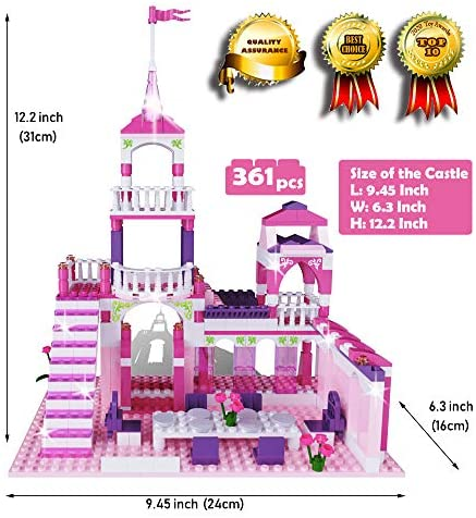 MONING.C Girls Building Blocks Toys Princess Castle 361 Pieces Toys for Girls Bricks Construction Toys for Kids Pink Assembly Toy Christmas Birthday Gift Kids Age 6+: Toys & Games