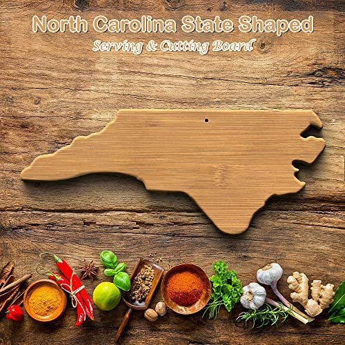 North Carolina Bamboo Cutting Board, NC Serving Board State Shaped, Wilmington Cheese Board Home Decor, Charlotte Serving Dish, North Carolina Suveniers, Raleigh Serving Plate: Kitchen & Dining