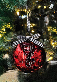 Rae Dunn Christmas Ornaments - Set of 2 Glass Balls - 100mm / 3.94 Inch Large Hanging Holiday Decorations for Xmas Tree Our Love Story: Home & Kitchen