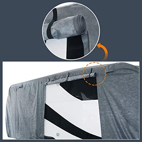 Extra-Thick 4-Ply Top Panel & Extra 2Pcs Reinforced Straps, KING BIRD Deluxe Camper Travel Trailer Cover, Fits 30'- 33' RV Cover -Breathable Water-Repellent Anti-UV with Storage Bag&Tire Covers: Automotive