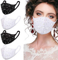 Sequin Bling Face Masks for Women,Rhinestone Sparkle Glitter Washable Reusable Pretty Mascarilla Designer Adjustable Ear Loops Bedazzled Fashion Cotton Cloth Mouth Covering Gift : Sports & Outdoors