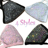 Fashion Rhinestone Face Mask Reusable with 2 Filters, Glitter Bling Face Mask for Women Christmas : Beauty