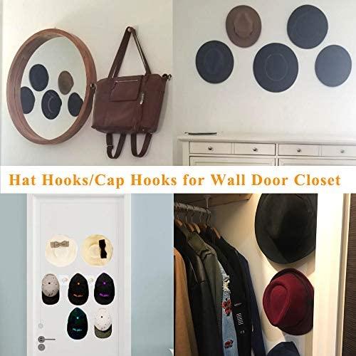 Adhesive Hooks Hat Hooks Wall Mounted Hat Hanger Wall Rack Coat Hanging Wooden Bathroom Hooks Stick On Door Closet Cabinet Wardrobe Entryway Waterproof OilProof-8 Packs: Home & Kitchen
