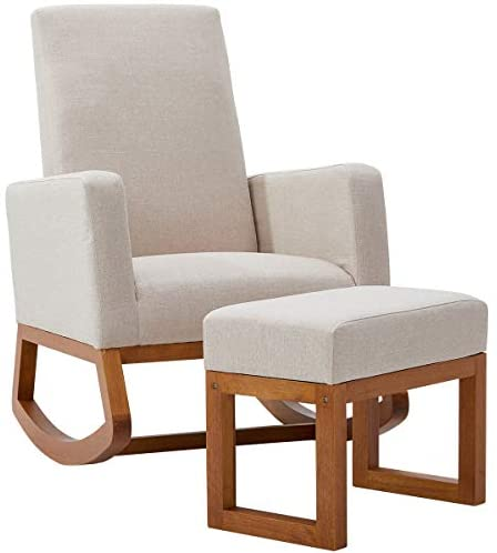 YOLENY Rocking Chair,Mid Century Accent Chair,Glider Rocker with Ottoman,Seat Wood Base,High Back Linen Armchair,Beige: Kitchen & Dining