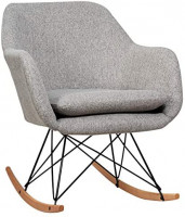 Giantex Accent Rocking Chair with Cushion, Upholstered Rocking Arm Chair w/Solid Steel Wood Leg, Modern Rocker Chair for Balcony, Bedroom (1, Grey): Kitchen & Dining