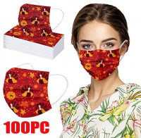 oceansEdge11 [US in Stock] 50/100pcs Adult Printed Disposable_Masks for Thanksgiving Day 3Ply Non-Woven Breathable Protection Disposable Face_Mask for Women Men Outdoor Indoor Sports Party: Sports & Outdoors