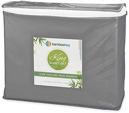 Bamboo Bay 6-Piece Bamboo Sheet Set (10 Colors) - Soft, Breathable & Cooling 100% Viscose from Bamboo Sheets - Extra Deep Pocket, No-Slip Fitted Sheet (King Size, Dark Grey): Kitchen & Dining