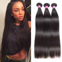 ISEE Hair 8A Malaysian Virgin Straight Hair 3 Bundles 100% Unprocessed Human Hair Weave Bundles Human Hair Extensions 3 Bundles Deal Natural Black 12 14 16inches : Beauty