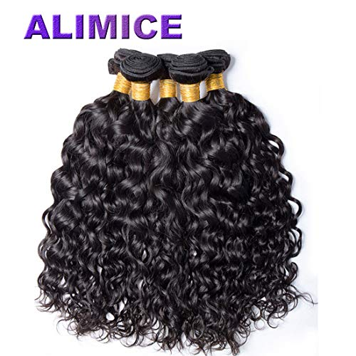 A ALIMICE HAIR Water Wave 3 bundles with closure Brazilian 100% Human hair Weave bundles with 4x4 Closure Remy Hair extensions Can be dyed (14 16 18+14) : Beauty