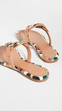 Tory Burch Women's Enamel Miller Sandals, Aged Vachetta, Tan, Print, 7 Medium US | Flip-Flops