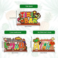 Luau Party Signs Aloha Signage Tiki Party Table Decoration, Tropical Summer Hawaiian Birthday Party Baby Shower Yard Decoration, Welcome Luau Aloha Let's Hula Tiki Bar Table Centerpiece, 3 Pieces: Toys & Games