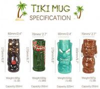 Tiki mugs cocktail set of 4 - Ceramic Hawaiian Party Mugs Drinkware, cute exotic cocktail glasses, Hawaiian party barware, great home bar present idea, SC028: Kitchen & Dining
