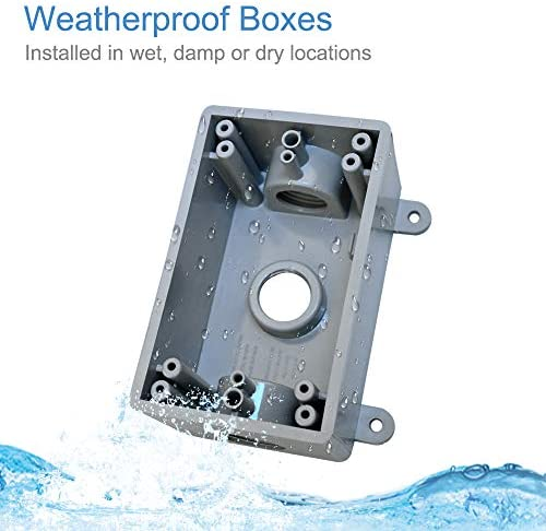 YXX-TECH Single-Gang Weatherproof, 1/2-Inch or 3/4-Inch Weatherproof Electrical Box, UL Listed,PVC Wall junction box outlet
