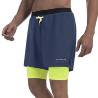 """qualidyne Men's 2 in 1 Running Shorts with Phone Pockets, Sports Workout Quick Dry 5"""" Athletic Training Shorts: Clothing"""