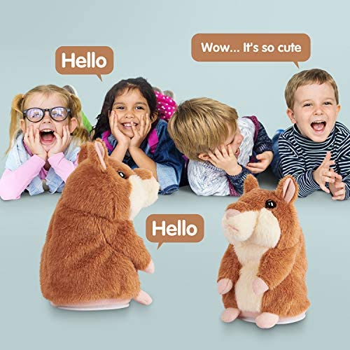 Kids Toys Talking Hamster Repeats What You Say, Talking Plush Interactive Toys Repeating Plush Animal Toy, Fun for 2,3 Year Old Kids, Baby, Child, Toddlers: Toys & Games