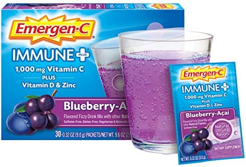 Emergen-C Immune+ Vitamin C 1000mg Powder, Plus Vitamin D And Zinc (30 Count, Blueberry Acai Flavor, 1 Month Supply), Immune Support Dietary Supplement Fizzy Drink Mix, Antioxidants & Electrolytes: Health & Personal Care