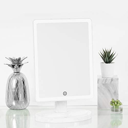 Impressions Touch Ultra Marble Finish Makeup Mirror with LED Light, Vanity Mirror for Desk with Standing Base and Charging Extensions