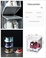 Shoe Storage Boxes Clear Stackable Shoe Container Closet Entryway Organizer (4 pieces) Large Size ( white): Home Improvement