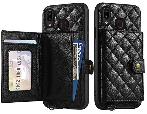 TabPow Samsung Galaxy A20 (Not Fit A20S) Wallet Case, Quilted Leather Card Holder, Fits 3 Cards, Shockproof Phone Case - Black