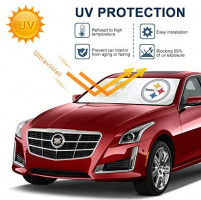 for Pittsburgh Steelers, 210T Windshield Sunshade Fabric Block The Strong Sunlight and Ultraviolet Rays, Keep The Car Cool Sun Visor Protection Easy to Use(59.8 X 31.8'')- for NFL Steelers Fans: Automotive