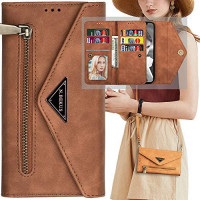 Galaxy A21S Wallet Case for Women with Shoulder Strap,Auker 9 Card Holder Kickstand Crossbody Wallet Phone Case Clutch with Money Pocket Folio Flip Leather Magnetic Zipper Purse Bag for Samsung A21S