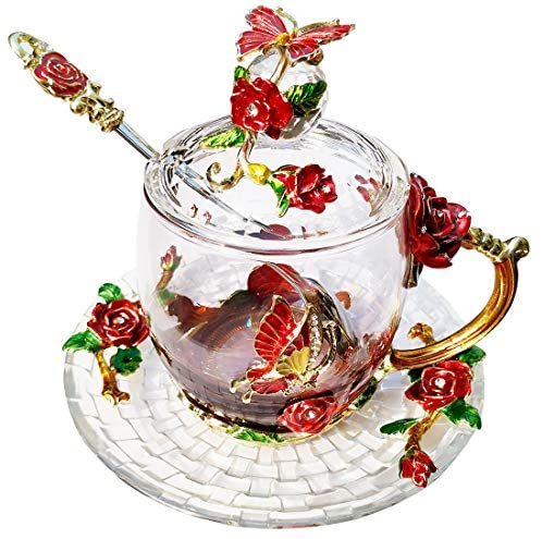 LANTREE Fancy Glass Tea Cup with Lid Saucer Spoon Floral Coffee Mug Unique Christmas Gift Birthday Gift for Friend Female Mother-in-Low Daughter House Warming Gift(Tall Red): Kitchen & Dining
